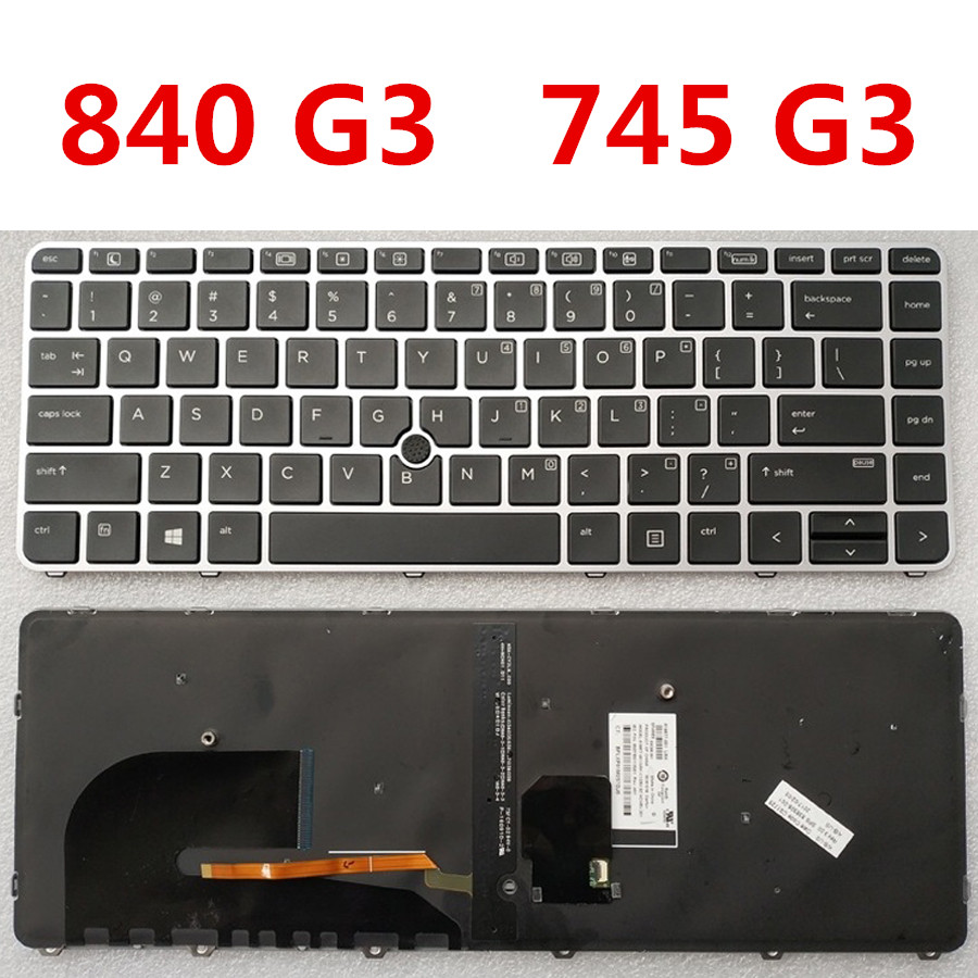 For HP EliteBook 840 G5 846 G5 745 G5 Keyboard Silver Frame Point