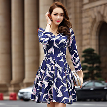 S~5XL Brand Plus Size 2016 OL Elegant Floral Print V Neck Puffy Dresses Women Ladies Short Slim Work Business Office Big Vestido