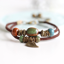 Summer Bohemia Handmade Ceramic Jewelry Women Hot-selling Fashion Bracelets Men 2017 Leather Chain with Leaf Red Green Beads