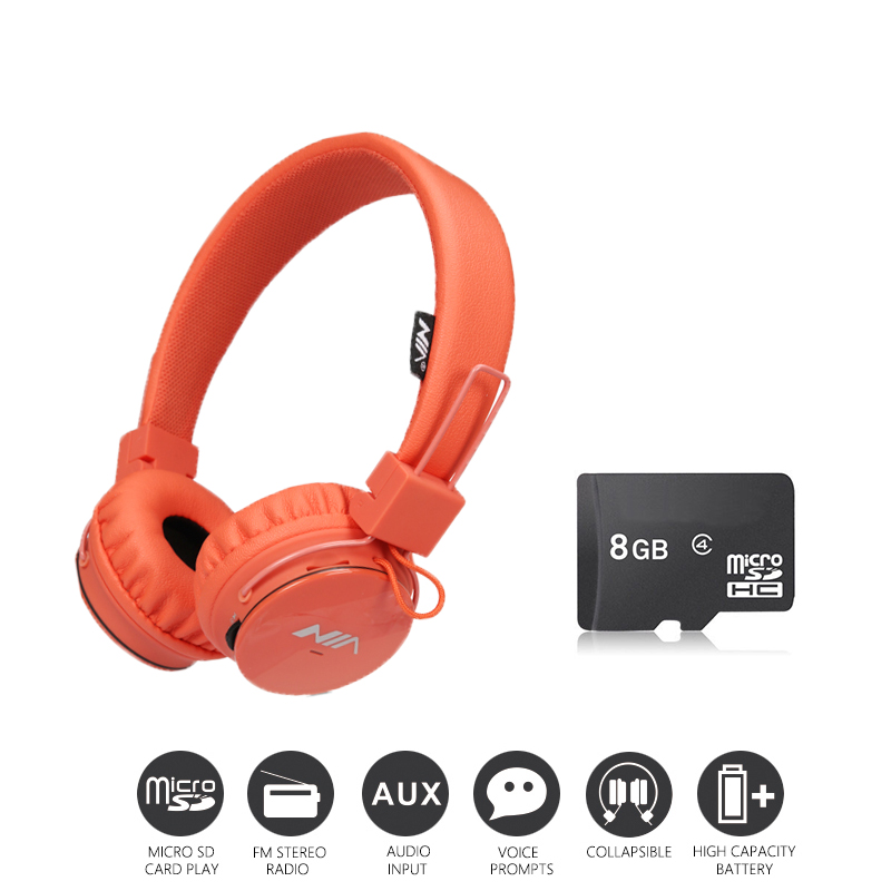 Economic Set: Original NIA 1682S + 8 GB Micro SD Card a Set Multifunctional Wireless Headphone mp3 player with FM SD Card slot <br>