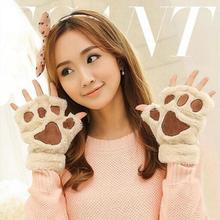 2017 New Listing 1 Pair of Winter Warm Women Lady Paw Gloves Fingerless Fluffy Bear Cat Plush Paw Cosplay(China)