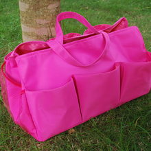 Wholesale Solid Pink Utility Tool bag with Mesh Pockets ,Free Shipping Large Aqua Garden Appliance tote bag DOM-1010307(China)