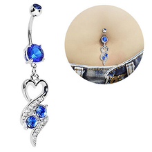 Chic Surgical Steel Heart Rhinestone Belly Ring Body Piercing Navel Jewelry 899I(China)