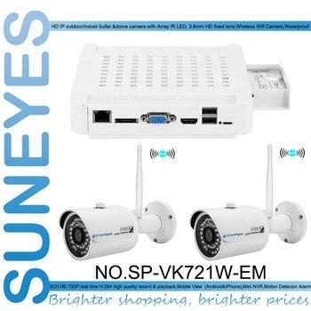 SunEyes SP-VK721W-EM 720P HD 2CH IP CCTV Camera NVR Kit with 2pcs HD Wireless Wifi Mini IP Camera Outdoor P2P