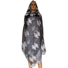 African women scarfs,Muslim women embroidery net big scarf with big stones ,2017 New Black white net scarf for shawls