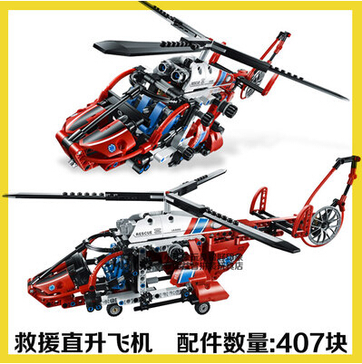 decool 3355&amp;3356 Armed rescue helicopter Toy building blocks 407pcs/set 3D DIY brain game Red aircraft Boy free shipping<br><br>Aliexpress