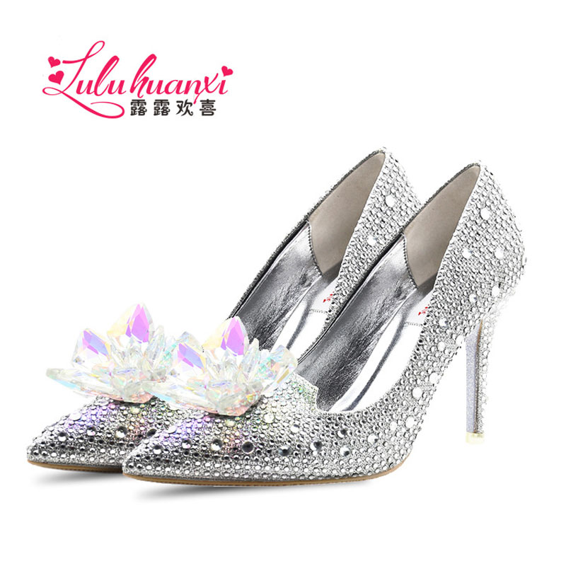 Womens shoes luxury brand female Cinderella Glass crystal Red Silver High-heeled shoes thin heels pointed toe party / Wedding<br>