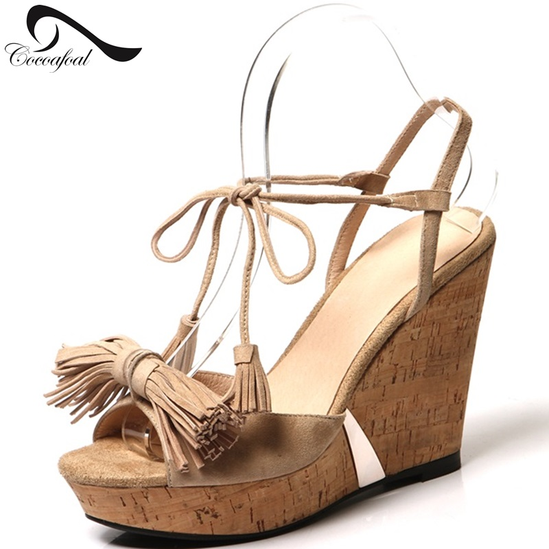 Sexy Roman Shoes Fashion Tassel Leisure Slope With Female Sandals Genuine Leather Straps 2017 Womans High Heels Sandals Apricot<br><br>Aliexpress