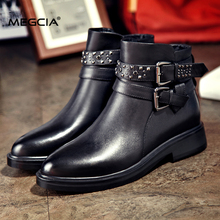 MEGCIA 2017 New Black Flat Ankle Boots For Women Genuine Leather Rivet Boots Pointed Toe Buckle Strap Boots Studs Shoes A025