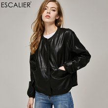 2017 Autumn Leather Jacket Women Casual Long Sleeve Button Slim Coat Fashion PU Leather Bomber Jacket Femininas(China)