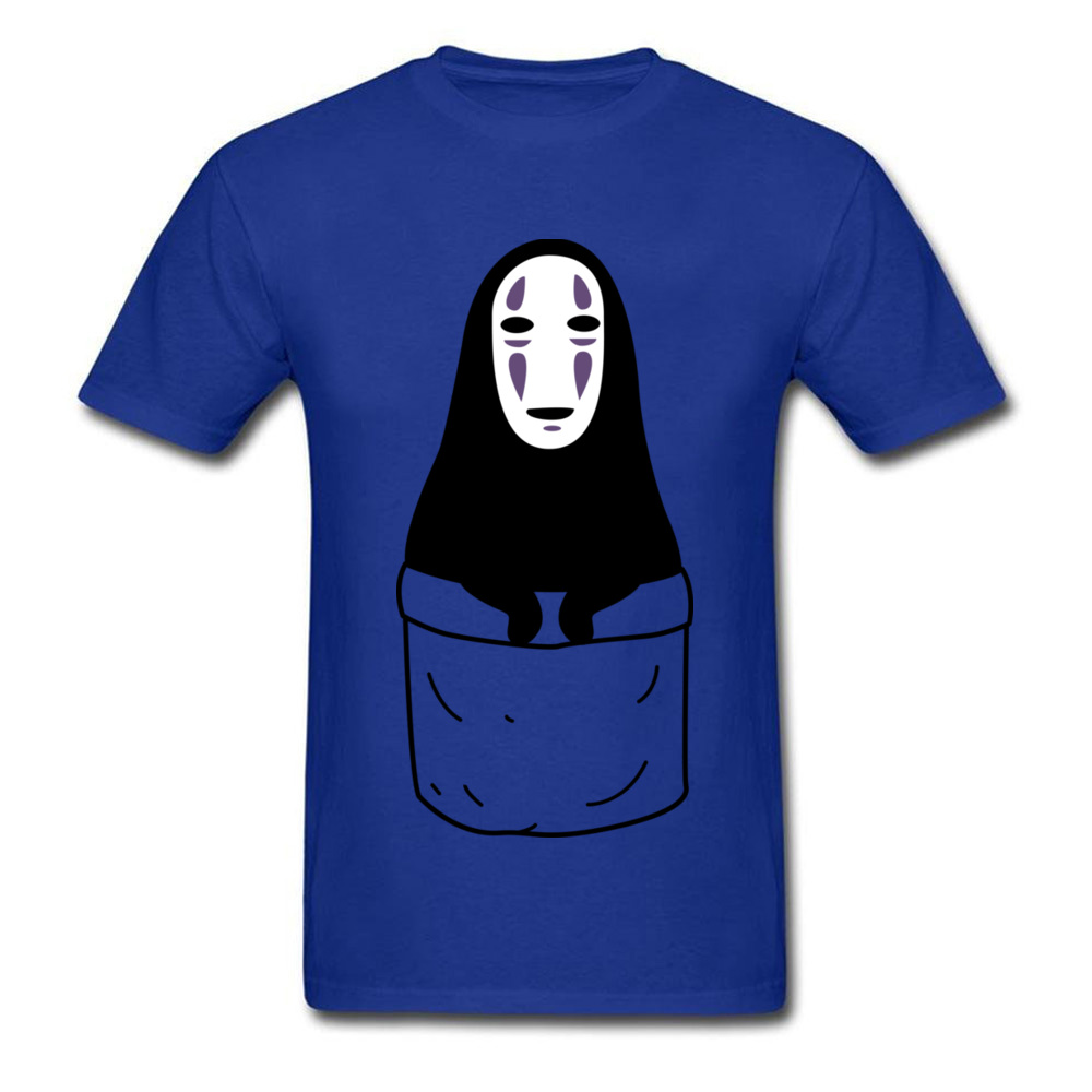 Mens Tops Shirts Kaonashi in a pocket Newest Printed On T-shirts 100% Cotton Short Sleeve Funny Sweatshirts Round Neck Kaonashi in a pocket blue