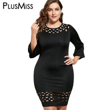 PlusMiss Plus Size 5XL Sexy Little Black Cut Out Night Club Party Dress Women Hollow Out Mini Short Sheath Dress 2017 Robe Femme(China)
