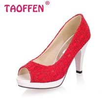 Ladies Stiletto High Heels Peep Toe Shoes Dress Shoes Women Wedding Lace Sexy Casual Slip-On Platform Pumps Size 31-43 PA00382