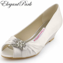 Woman Wedding Wedges WP1403 White Ivory Silver Peep Toe Rhinestone Med Heels Satin Ladies Bride Bridal Shoes Prom Dress Pumps(China)
