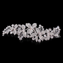 Fashion Wedding Women Bridal Jewelry Accessories Clear Rhinestone Crystals Flower Long Hair Comb For Bride 18*6.5cm
