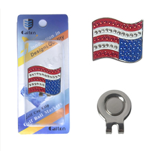 Golf hat Clip Flag of the United States diamond Golf Ball Marker Golf Cap Clip Alloy Professional free shipping(China)
