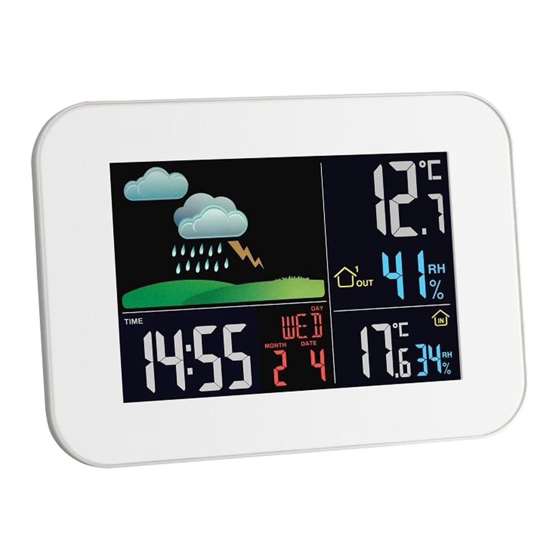 Wireless weather station Weather forecast Thermometer Hygrometer Indoor climate,white<br>