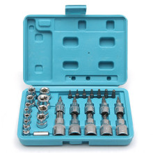 Drillpro 29Pcs Torx Star Socket Bit Tool Set Box Wrench Repair Hand tools 1/4'' 3/8'' 1/2'' Chrome Vanadium Bright