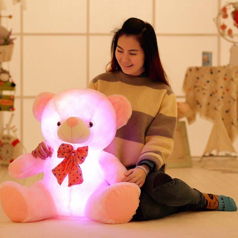 Nooer Soft Cute 50/70cm Plush Flashing Teddy Bear Doll Toys With LED Light Luminous Glowing Stuffed Toys Children Kids Gift <br>