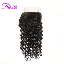 Alishes Hair Malaysian Curly Lace Closure 4*4 Free Part Bleached Knots Non-Remy 100% Human Hair Natural Black Color Can Be Dyed(China)