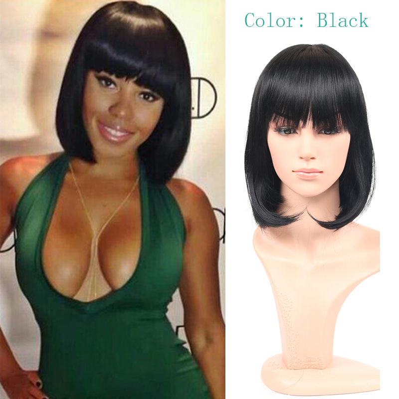 Rose short bob straight cheap synthetic wigs for black women sexy female haircut wigs black Peluca Peruca Sexy wig cosplay hair<br><br>Aliexpress