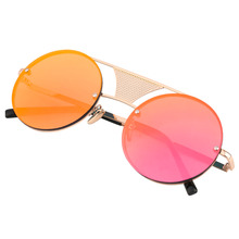 2017 Fashion Round Frame Glasses Women Unisex Colorful Sunglasses Unique Personality Sun Block Eyewear Sunglasses 9 Colors(China)