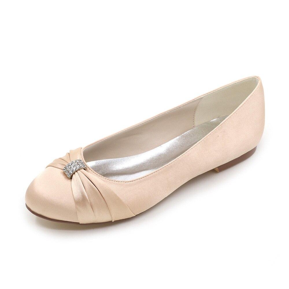 Elegant lady wedding party dress flats rhinestone knot brooch slip on bridalmaids bridal satin dress shoes ivory purple silver<br><br>Aliexpress