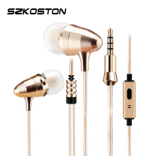 SZKOSTON Metal stereo Earphone Super Bass Earphones Gold Bullet In-Ear For Xiaomi Song Samsung iPhone MP3(China)