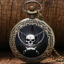 Black Quartz Vintage Antique Pocket Watch Skeleton Head Angel Wings Lace Pattern Design Necklace Watches With Chain P386