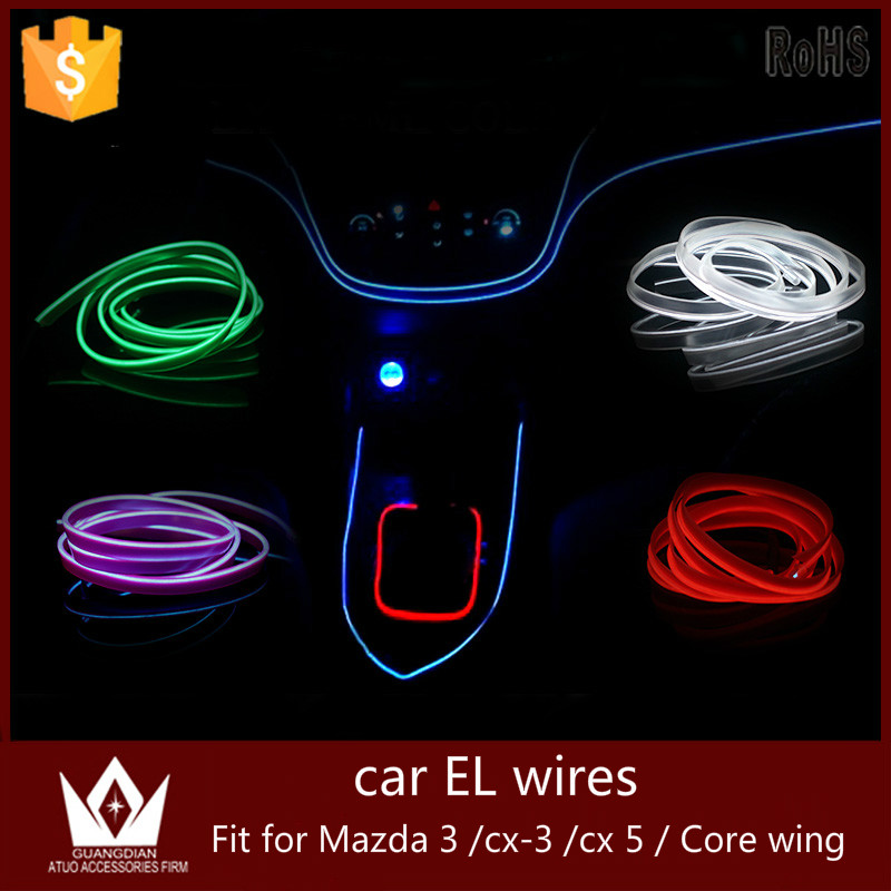 Guang Dian 5M or 6M Flexible light flat EL Wire Rope Power Glow + Controller cigarette inverter For mazda 3 cx3 cx 5 core wing<br><br>Aliexpress