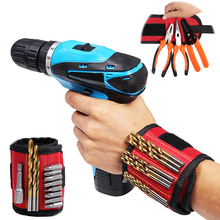 Hoomall Magnetic Wristband Portable Small Tool Bags 2 Magnets Screws Nails Drill Bits Electrician Bag Magnetic Bracelet For Tool(China)