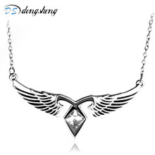 dongsheng Hot City Of Bones Angels Force Movie Necklace Mortal Instruments Rhinestone Wing Pendant Necklace Movie Jewelry-30(China)