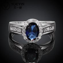 silver plated Crystal ring for women wedding party Bridal jewelry Inlaid red blue Stone anel feminino for mother(China)
