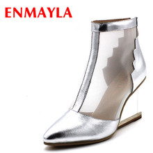 ENMAYLA Transparent Wedges High Heels Women Pumps Gold Silver Clear Shoes Woman Pumps Wedges Summer Ankle Boots Women(China)