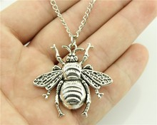 WYSIWYG 2 Colors Antique Bronze, Antique Silver Color 40*38mm Bee Pendant Necklace , 70Cm Chain Long Necklace(China)