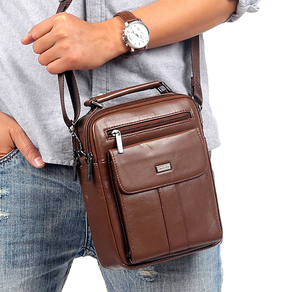 High Quality Genuine Leather Messenger Sling Shoulder Bag Fashion Men Cowhide Cross Body Bags Brand Male Business Tote Handbag<br><br>Aliexpress
