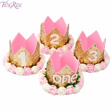 FENGRISE Baby Girl First Birthday Hat 1st 2nd 3rd Birthday Party Cap Pink Princess Crown Kids Favors Baby Hair Accessories(China)
