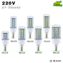 Best quality  E27 E14 LED Lamp 5730SMD LED Lights Led corn Bulb 24 36 48 56 69 72Leds Chandelier Candle Lighting Home Decoration