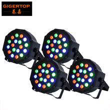 TIPTOP 4XLOT 18 x 3W Led Par Light DMX 3/6 Channel RGB Color American DJ Flat Par TP-P183 Quad Colored LED Wash Can Plastic case