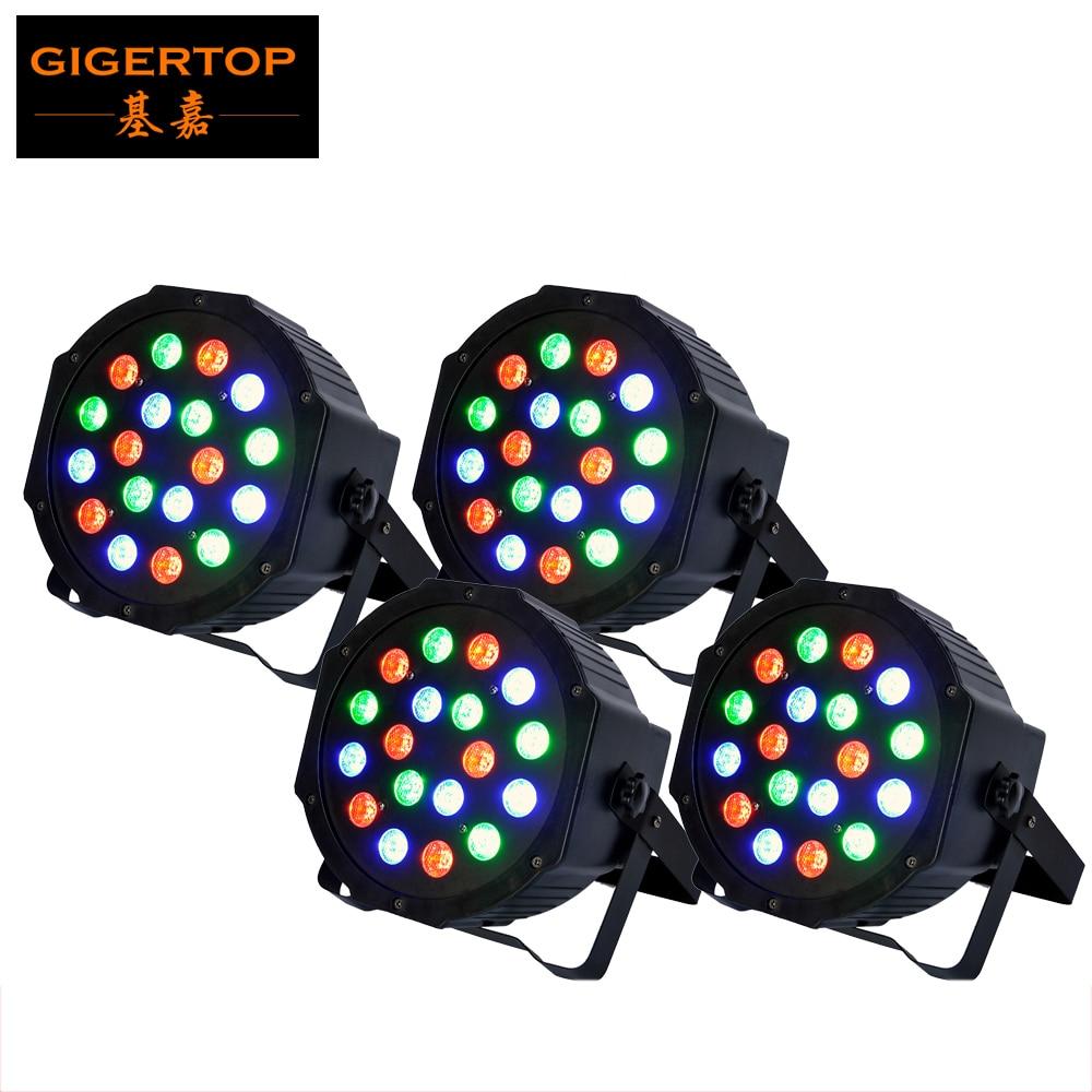 TIPTOP 4XLOT 18 x 3W Led Par Light DMX 3/6 Channel RGB Color American DJ Flat Par TP-P183 Quad Colored LED Wash Can Plastic case<br>
