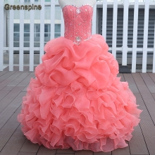 Watermelon Red Pink Blue Quinceanera Dresses Ball Gown With Beads Vestido de quinceanera vestidos de noi Vestidos De 15 Anos