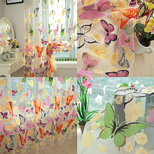 Romantic Bedroom Cheap Ready Made Finished Organza Child Window Cortina Butterfly Curtain for Living Room Home Decor(China)
