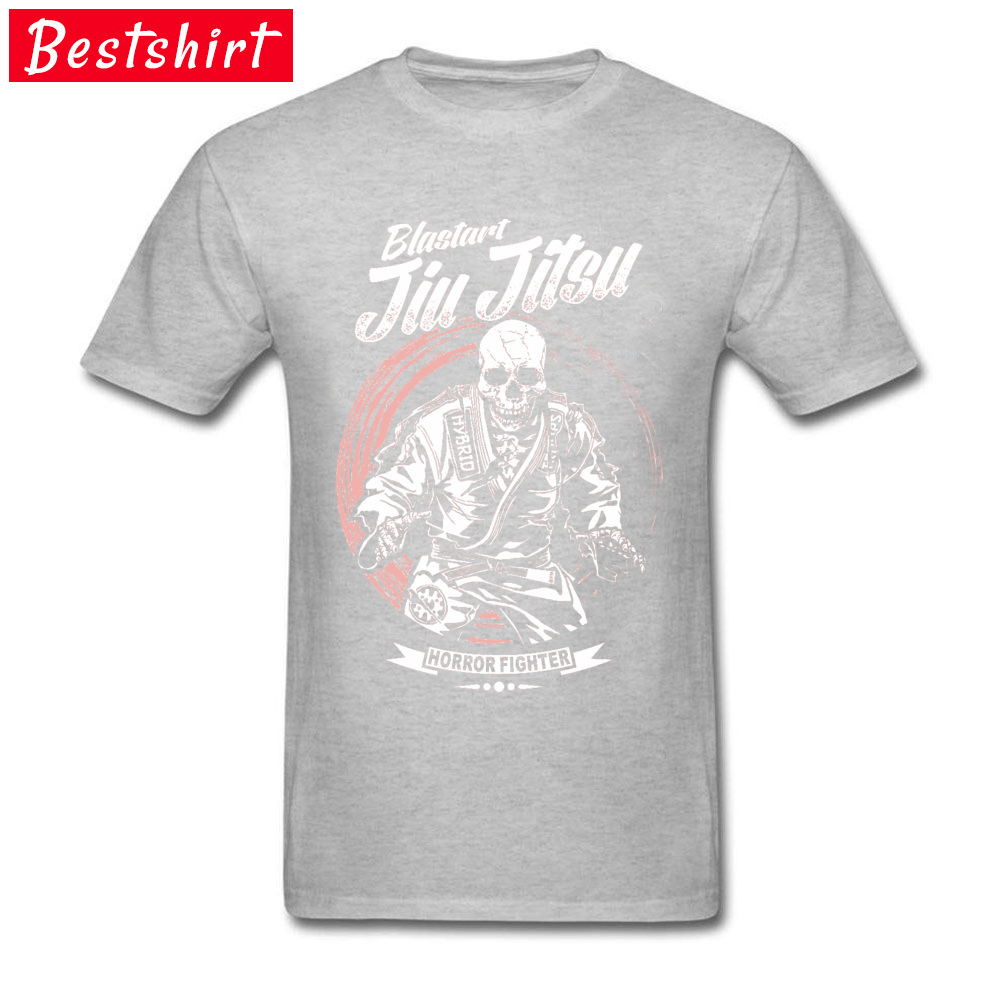 Jiu-jitsu-Horror-Fighter Street Tops Shirt Short Sleeve for Men Cotton Fabric Round Collar T Shirt Normal Sweatshirts 2018 New Jiu-jitsu-Horror-Fighter grey