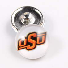 10PCS Oklahoma State Cowboys 18mm Glass Snap Button Fit Ginger Snap Bracelet Bangles NCAA Football Baseball Series Jewelry
