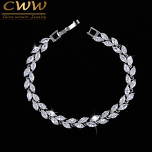 CWWZircons New Trendy 2017 Unique Zirconia Jewelry Silver Color Leaf Charm CZ Crystal Female Bracelets Bangles For Women CB060(China)