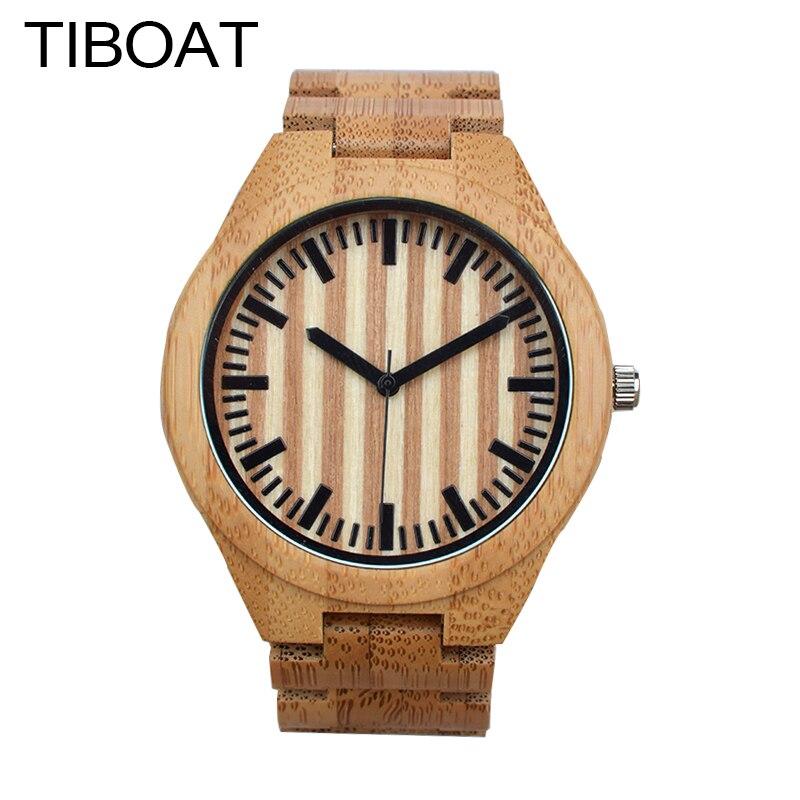 TIBOAT Casual Nature Wood Bamboo Full  Bamboo Strap Wrist Watch Men Women Cool Analog Bracelet Gift relojes de pulsera<br>