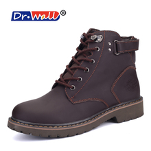 Boots Men Sale Dr.wall 2017 Men Boots Leather Lace-up Casual Shoes Retro Design Tooling Boot Botas Plus Cotton Warm Winter Boo(China)