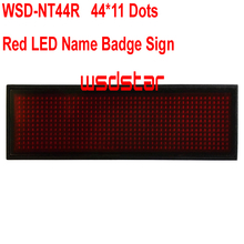 WSD-NT44R Red LED Name Badge Sign Rechargeable Red LED name tag Red led name badge 44*11 Dots Temperature display function(China)