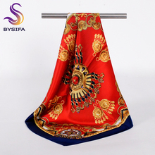 [BYSIFA]Small Silk Scarf Fashion Accessories China Red 100% Mulberry Silk Scarf 53*53cm Brand Square Scarves Wrist Band Headband