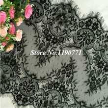 6 Meter / lot Eyelashes lace trim flower black white lace fabric handmade diy clothes accessories 45cm wide